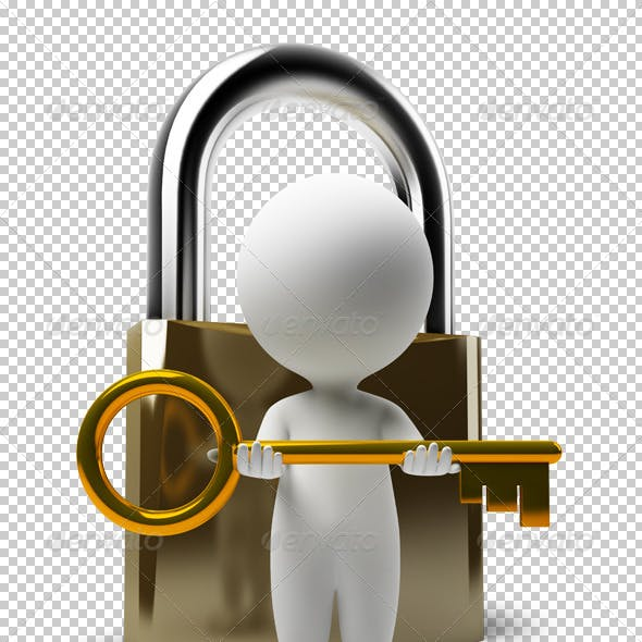 3d small people - lock and key