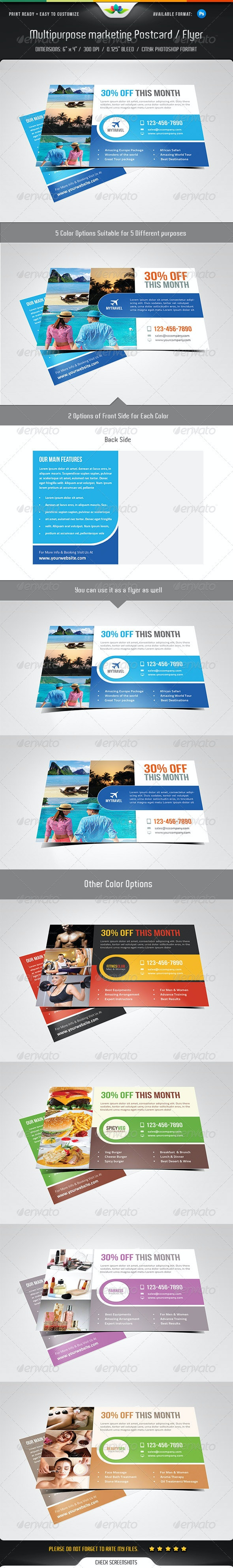Multipurpose Marketing Postcard / Flyer Template - Commerce Flyers