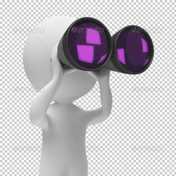 3d small people - binoculars