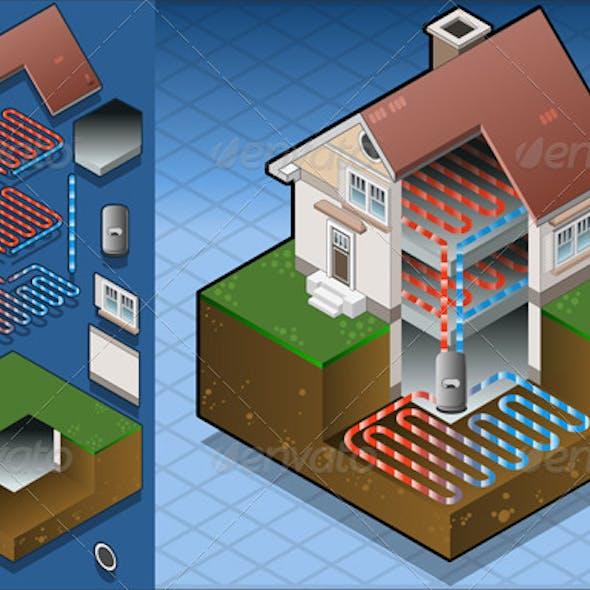 Isometric Geothermal Heat Pump Under Floor Heating