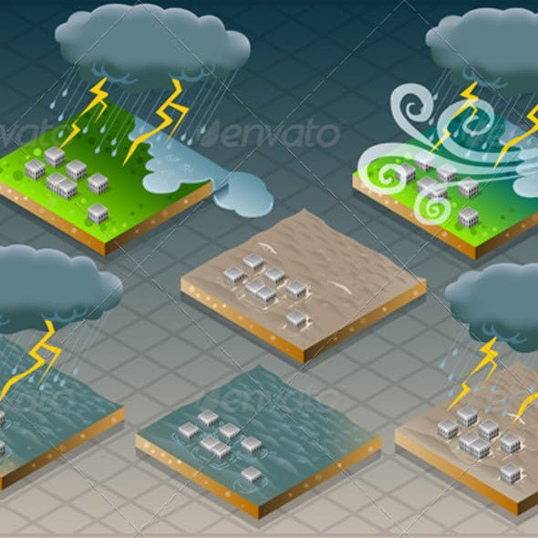 Isometric Natural Disaster Flood Mudded Terrain