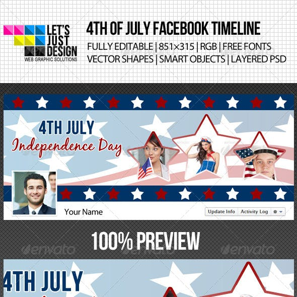 4th of July Independence Day Timeline Cover