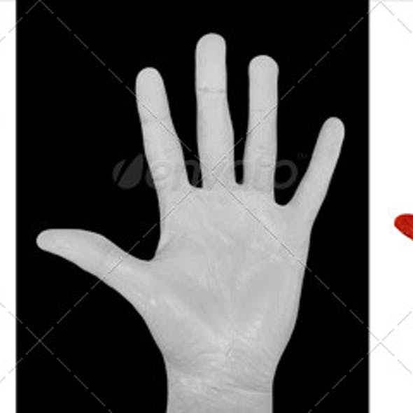 Cut Out Painted Hands, White, Black & Red (3-Pack)
