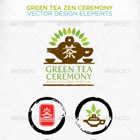Green Tea Zen Ceremony Vector Design Elements