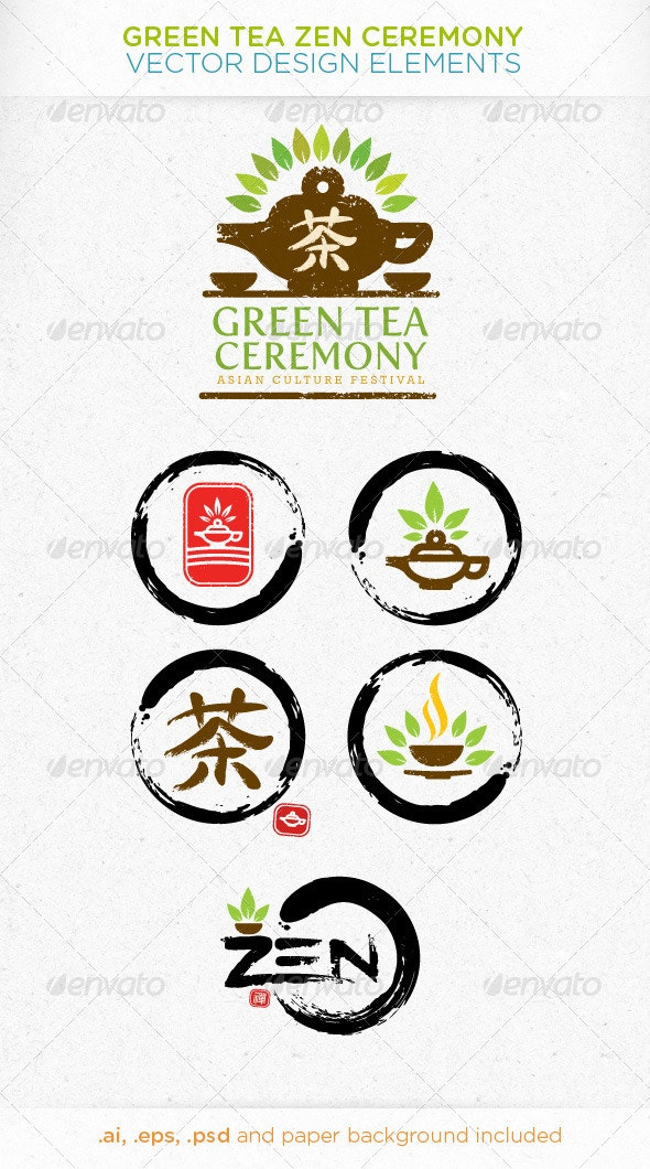 Green Tea Zen Ceremony Vector Design Elements - Food Objects