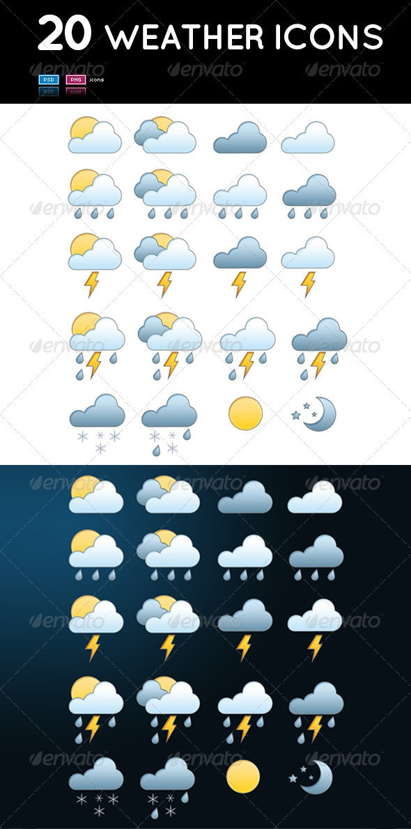 Set of 20 Weather Icons - Web Icons