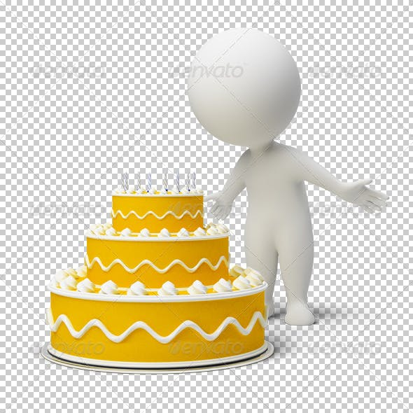 3d small people - birthday cake