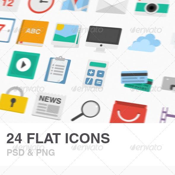 24 Flat Icons Set