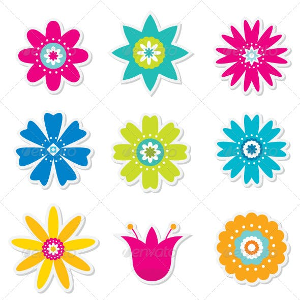 Colorful Flowers Set