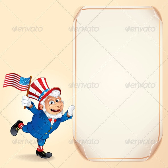 Cartoon Uncle Sam with USA Flag. Vector Background - Seasons/Holidays Conceptual