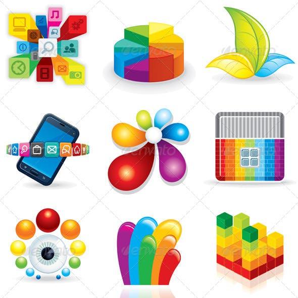Multicolored Design Icons for Logo. Vector Clipart