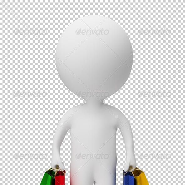 3d small people - carry shopping bags