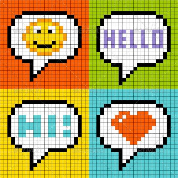 8-Bit Pixel-Art Online Messaging Bubbles - Retro Technology