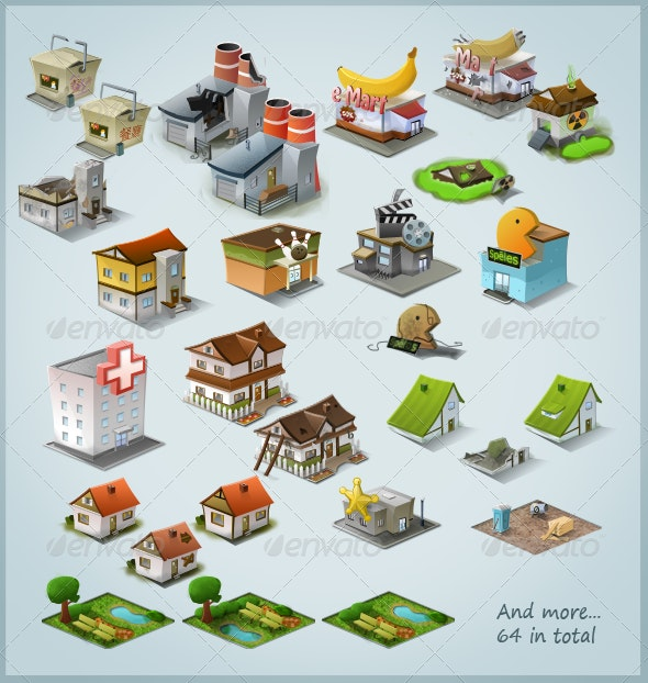 Modern Stylised Building Icon Pack (64 items) - Buildings Objects