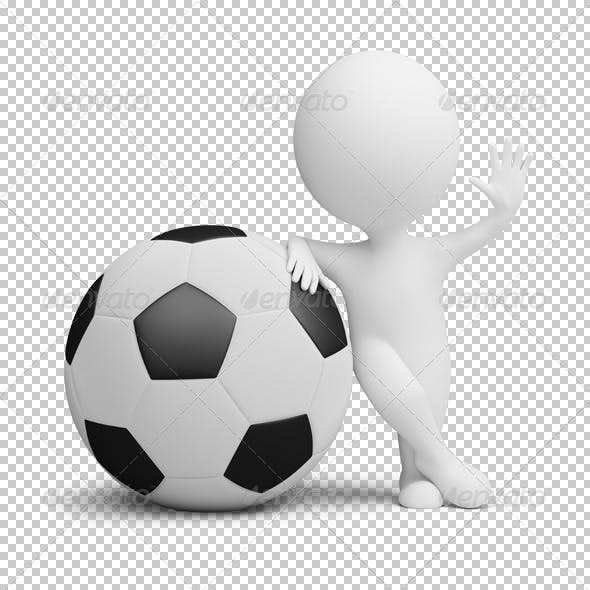 3d small people - soccer player big ball