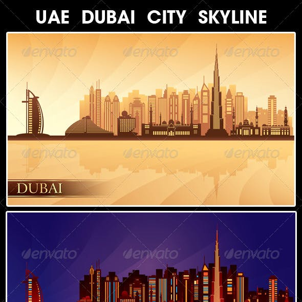 Dubai City Skyline Silhouettes Set