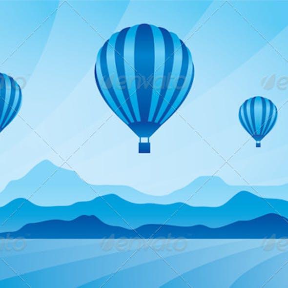 Air Balloon in the Sky Vector Skyline Illustration