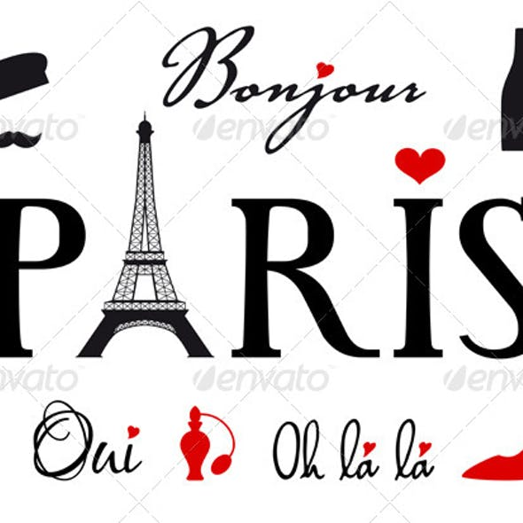 Paris With Eiffel Tower Vector Set