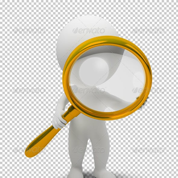 3d small people with a magnifier