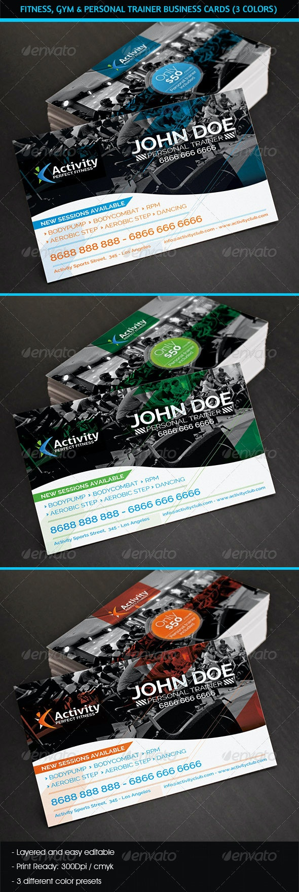 Fitness, Gym & Personal Trainer Business Cards - Industry Specific Business Cards