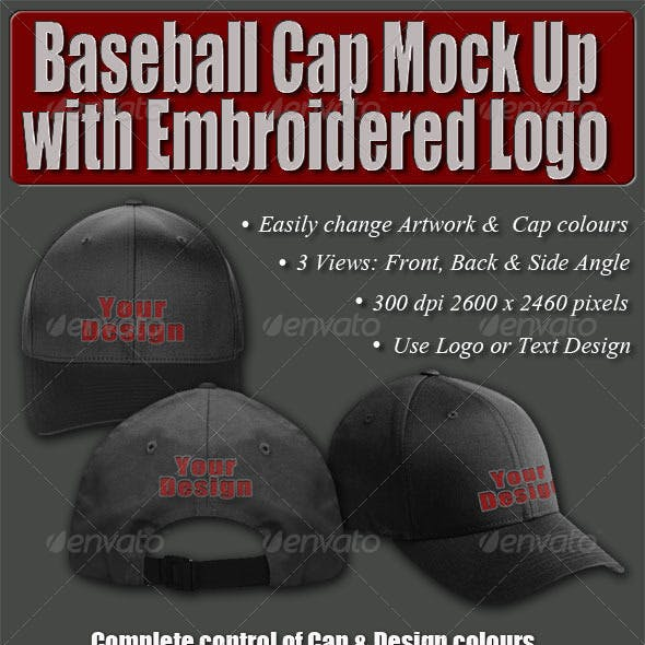 Baseball Cap Mock Up with Embroidered Logo