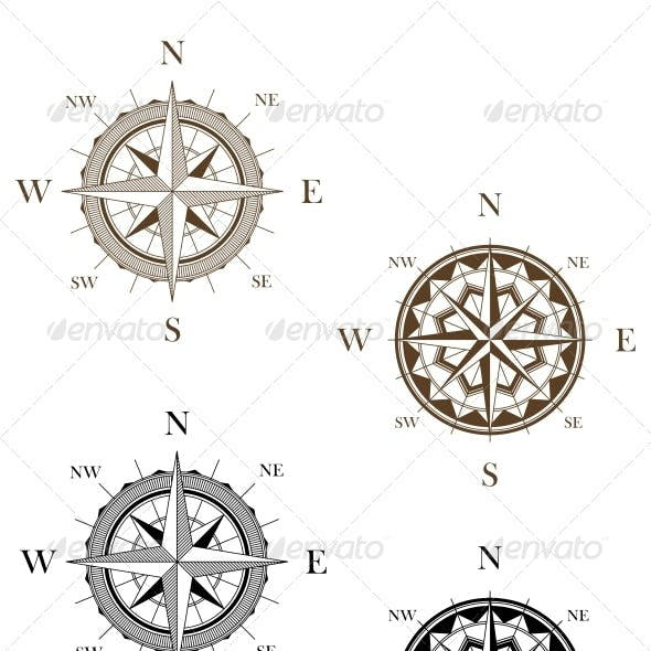 Set of Vintage Compass Signs