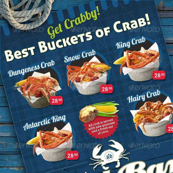 Crab Bar Menu Flyer Template