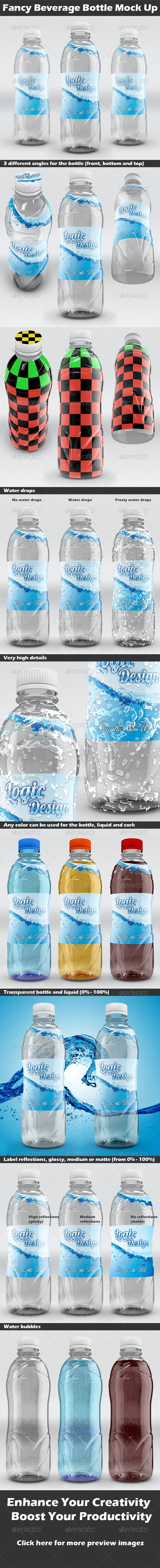 Fancy Beverage Bottle Mock Up - Food and Drink Packaging