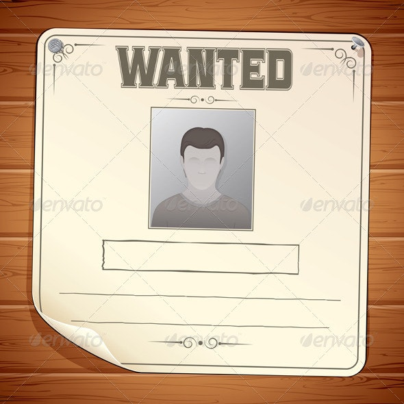Wanted Poster on Wooden Wall - People Characters