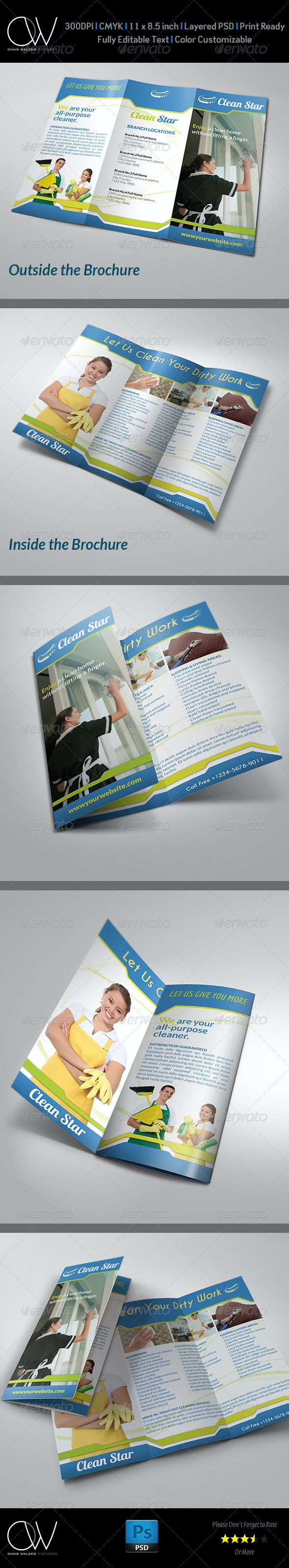Cleaning Services Tri-Fold Brochure - Brochures Print Templates