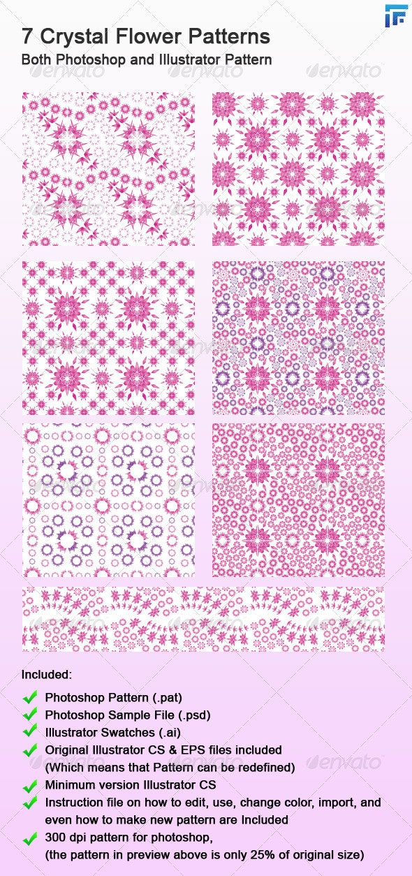 7 Crystal Flower Photoshop and Illustrator Pattern - Patterns Decorative