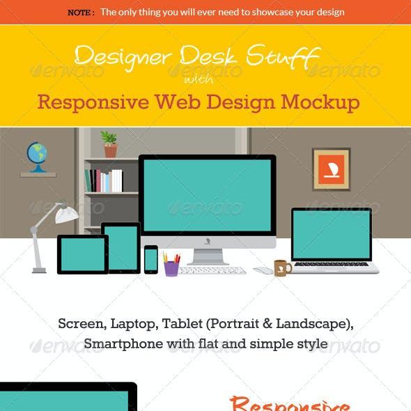 Designer Desk with Responsive Design Mockup