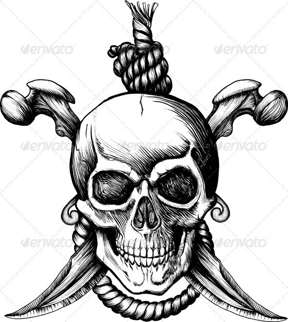 Jolly Roger Skull - Tattoos Vectors