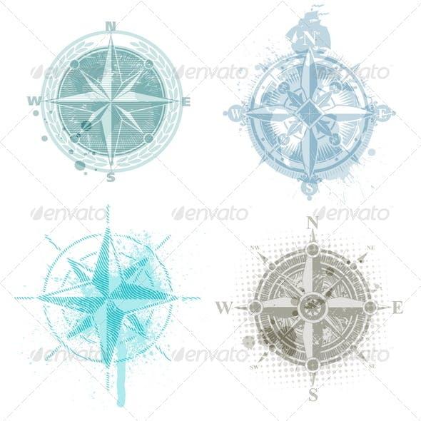 Four Grunge Vintage Compass Rose