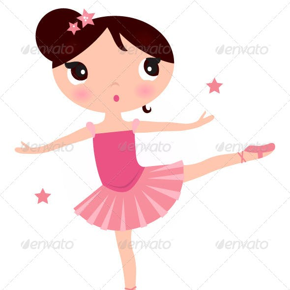 Ballerina Girl Isolated on White Vector