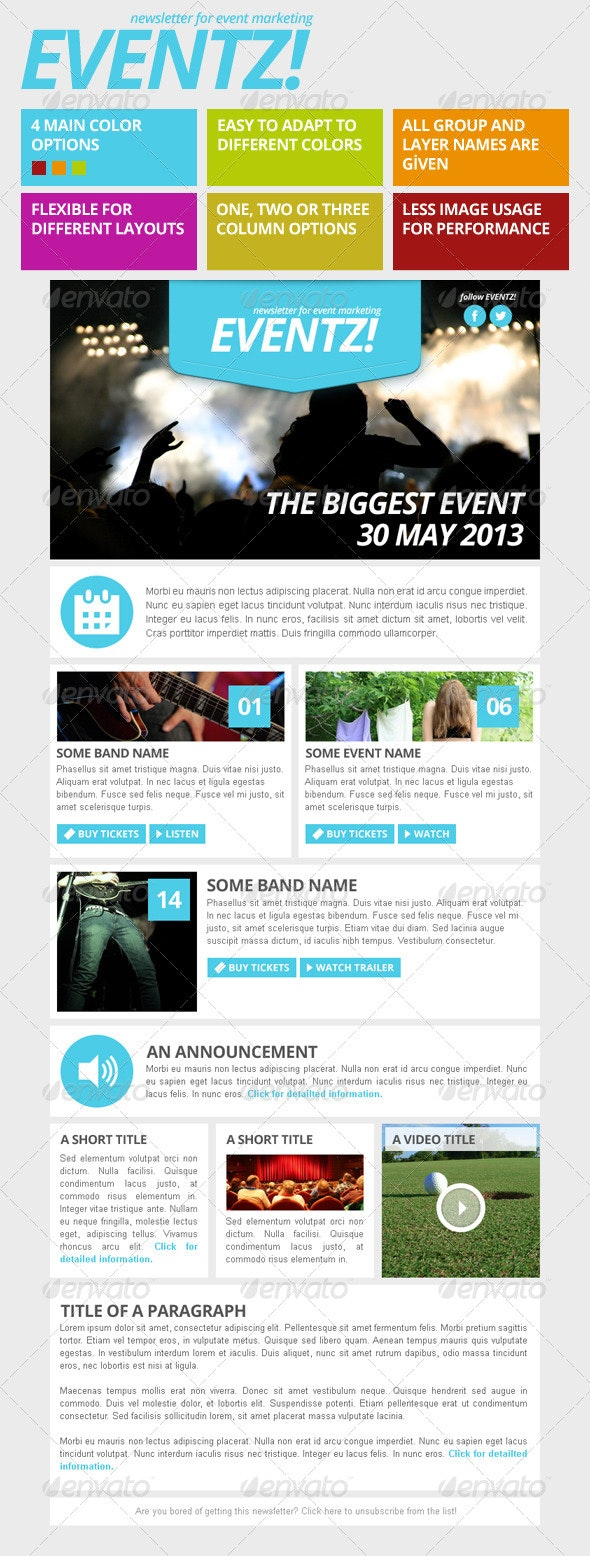 Eventz - Event Marketing Newsletter Template - E-newsletters Web Elements