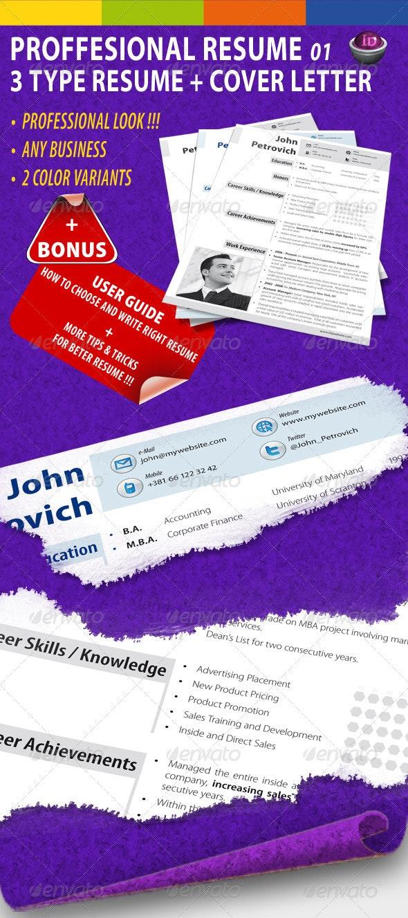 GD Professional Resume Set 01 - Resumes Stationery
