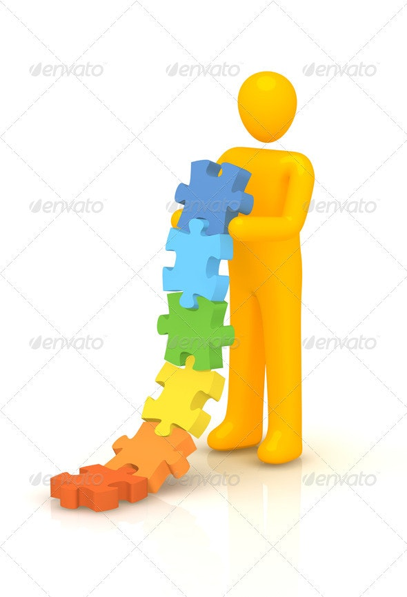 Man Building Gradation Puzzle - Characters 3D Renders