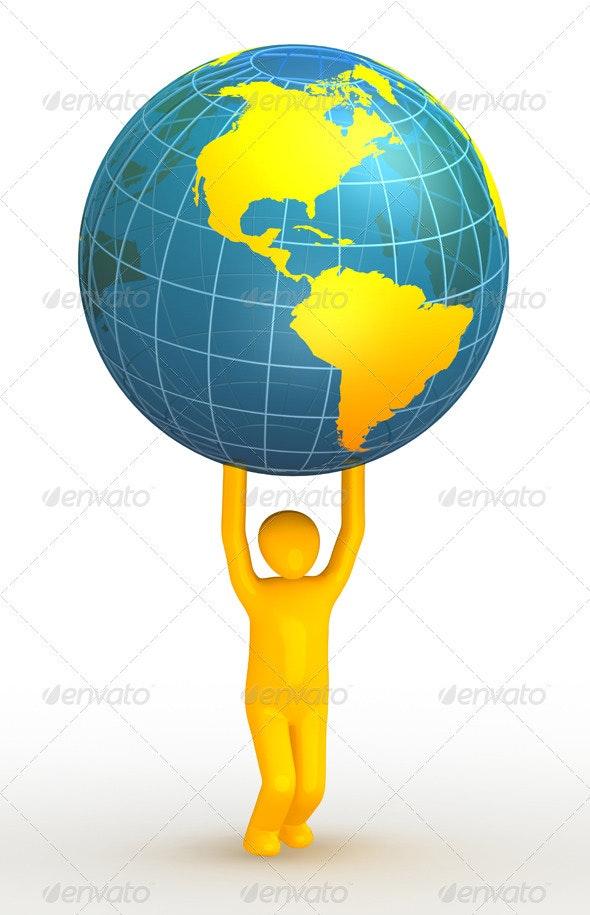 Man lifting globe - Objects 3D Renders