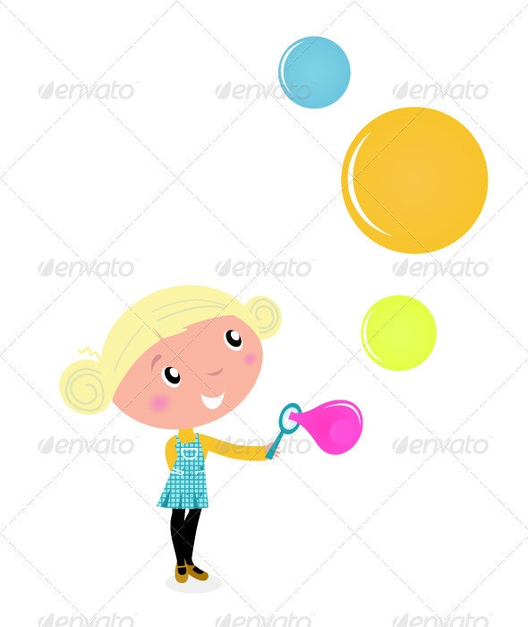 Cute blond little Girl blowing Soap Bubbles - People Characters