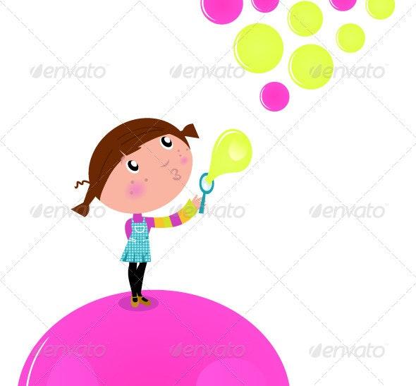 Cute little Kid blowing Soap bubbles - Characters Vectors