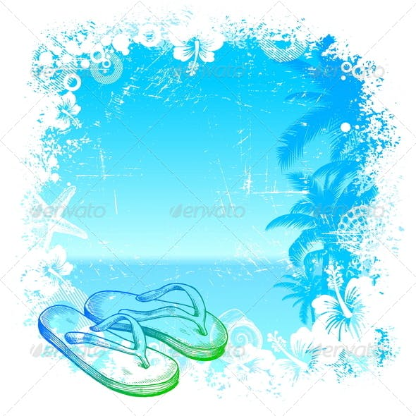 Tropical Background with Hand Drawn Flip-Flop