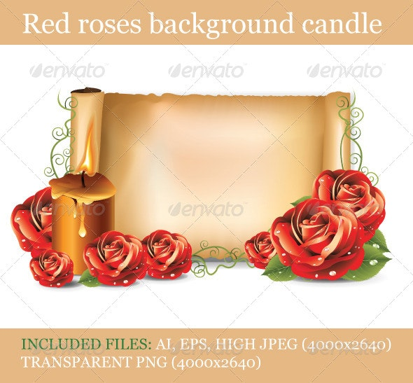 Red Roses Background Candle  - Seasons/Holidays Conceptual