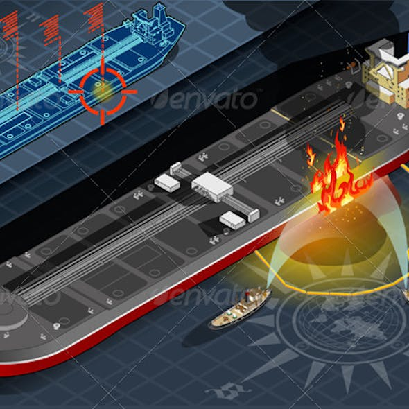 Isometric Oil Tanker Fire Disaster in FrontView