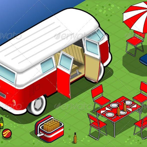 Isometric Bicolor Van in Camping in Rear View