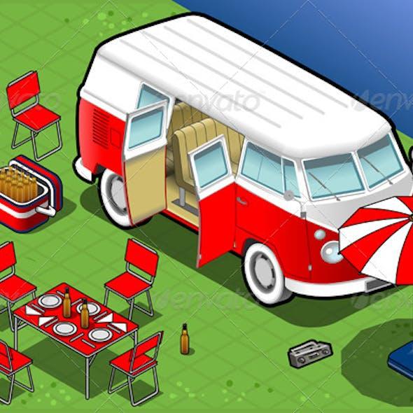 Isometric Bicolor Van in Camping in Front View