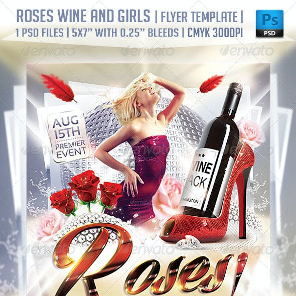 Roses Wine and Girls Flyer Template