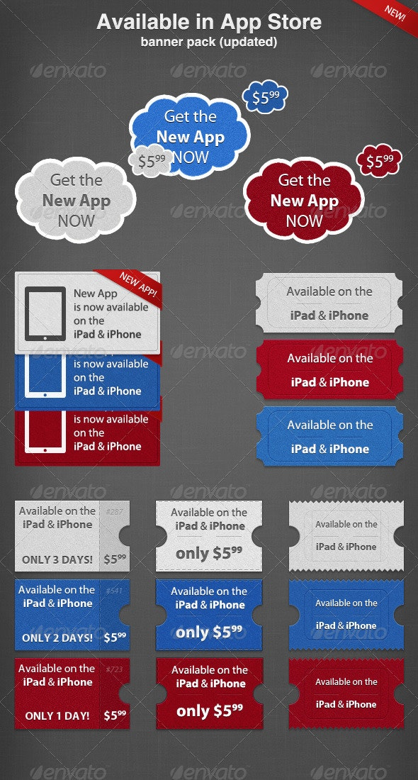 Available Iin AppStore Banner Pack (Updated) - Banners & Ads Web Elements