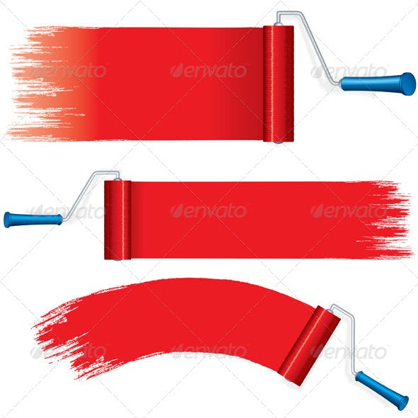 Red Roller Brush Painting Strokes on Wall