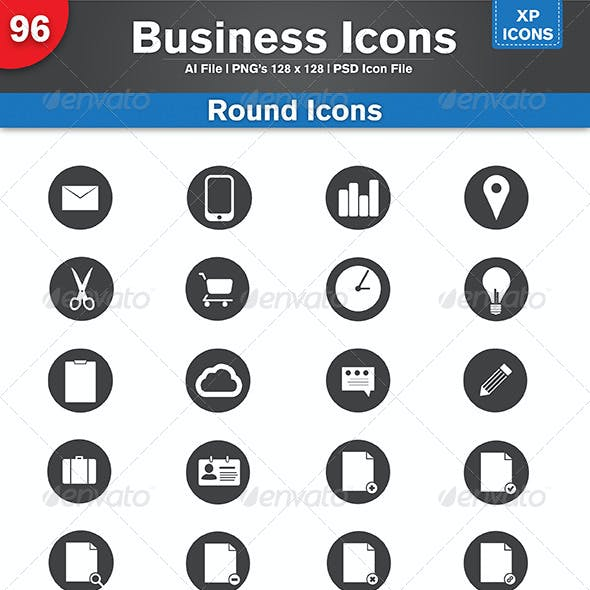 96 Flat & Round Business Icons